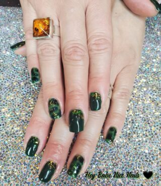 Luv this Dark Green 🤍Nails By Aundreana aundreana acetotheface #opichristmasgoneplaid #nailart #tortiseshellnails #denvernails #denvernailartist #nailartdenver #denverfashion #heybabenicenails